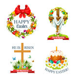 Vector paschal Easter isolated icons set. Easter paschal icons of holy crucifix cross with Christ shroud, paschal egg and cake with candle. He is risen, Happy Stock Photo