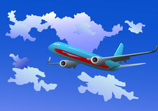 Vector - passenger jet in the clouds Stock Images