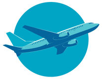 Vector passenger plane in flight, bottom view. Stock Photography