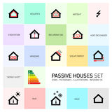 Vector passive houses icon set Royalty Free Stock Images