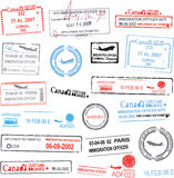 Vector passport stamps. Airport, travel transportation Stock Photography