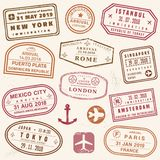 Vector passport stamps royalty free illustration