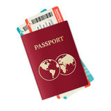 Vector passport with tickets Royalty Free Stock Image