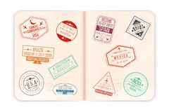 Vector passport with visa stamps. Open passport pages stock illustration