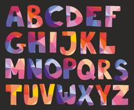 Vector pastel alphabet letters  on black background Royalty Free Stock Photos