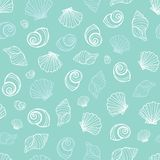 Vector pastel blue seashells repeat pattern. Suitable for gift wrap, textile and wallpaper stock illustration