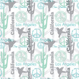 Vector Pastel California Animals Travel Seamless Pattern with Los Angeles, San Francisco, Hummingbirds, and Peace Stock Photography
