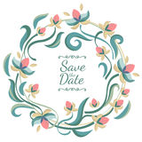Vector pastel color floral frame with flowers. Wedding, birthday Royalty Free Stock Image