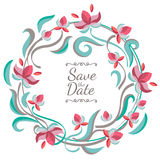 Vector pastel color floral frame with flowers. Wedding, birthday Stock Photos