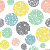 Vector Pastel Colorful Circles Dots Seamless Pattern Background With Spring Trees Texture. Perfect for neutral nursery Stock Photography