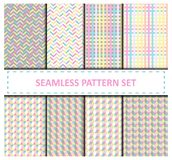 Vector pastel colors geometrical seamless patterns collection. Vector eps 10 light pastel colors geometrical seamless patterns design collection Royalty Free Stock Photo