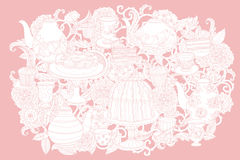 Vector Pastel Floral tea time Stock Image