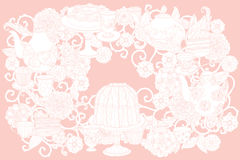 Vector Pastel Floral tea time Stock Photography