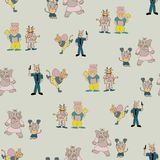 Vector pastel green fun anthromorph cartoon characters in pair seamless pattern background royalty free illustration
