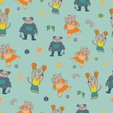 Vector pastel green sporty anthromorphic characters repeat pattern background royalty free illustration