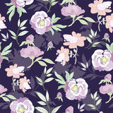 Vector Pastel Kimono Flowers on Black Seamless. Pattern graphic design Royalty Free Stock Photography