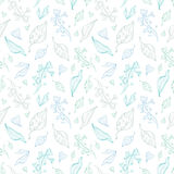 Vector pastel line art leaves seamless pattern Royalty Free Stock Photography