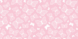 Vector Pastel Pink Butterflies Repeat Seamless Pattern Background. Can Be Used For Fabric, Wallpaper, Stationery Stock Photo