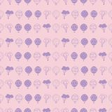 Vector pastel pink hot air balloons horizontal seamless repeat pattern royalty free illustration