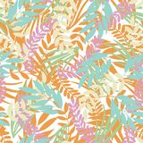 Vector pastel tropical leaves on white background. Wild jungle foliage. royalty free illustration