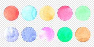 Vector pastel watercolor circle set. Color smear of watercolour splash stain on transparent background. Round hand drawn watercolor background with yellow stock illustration