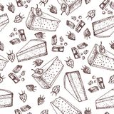 Vector pastry seamless pattern with cakes, pies, tarts,cheesecake with chocolate and strawberry topping. Hand drawn sweet bakery products in sketchy style Stock Images