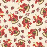 Vector pastry seamless pattern with cakes, pies, tarts,cheesecake with strawberry topping. Hand drawn sweet bakery products in sketchy style. Hand drawn doodle Royalty Free Stock Image