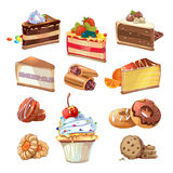 Vector pastry set in cartoon style Royalty Free Stock Photo
