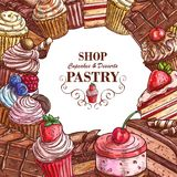 Vector pastry shop sketch desserts cakes poster. Pastry shop cupcakes and desserts sketch poster for patisserie menu template. Vector balery sweets of chocolate Stock Photography