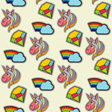 Vector patch unicorns and rainbows seamless pattern Stock Photo