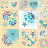 Vector patchwork nautical patterns.  Use to create quilting patches or seamless backgrounds for various craft projects.  Stock Photos