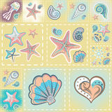Vector patchwork nautical patterns.  Use to create quilting patches or seamless backgrounds for various craft projects Royalty Free Stock Images