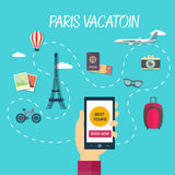 Vector path of travel through france Stock Photo