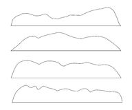 Vector paths of Mountains set. On the white background Royalty Free Stock Images