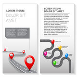 Vector pathway road map with GPS route pin icon. Vector pathway road map infographics with route with location pin icon on the way track. Roadmap direction Stock Image