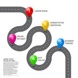 Vector pathway road map with GPS route pin icon Royalty Free Stock Image