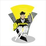 Vector patinador del jugador de hockey de la historieta Imagen de archivo libre de regalías