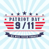 Vector Patriot Day background with stars, ribbon and lettering. Template for Patriot Day. September 11. Stock Photos