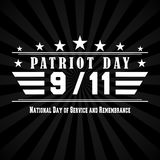 Vector Patriot Day dark background with 9 11 lettering. Template for National day of service and remembrance. Patriot Day dark background with 9 11 lettering Stock Image