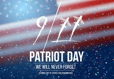 Vector Patriot Day Poster. September 11th National Tragedy Poster on USA Flag Background Royalty Free Stock Image