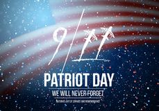 Vector Patriot Day Poster. September 11th National Tragedy Poster on USA Flag Background Stock Photo