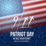 Vector Patriot Day Poster. September 11th 2001 Tragedy Poster on American Flag background. Illustration of Vector Patriot Day Poster. September 11th 2001 Tragedy Stock Photo