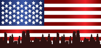 Vector Patriot Day, with usa flag and city Royalty Free Stock Images