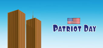 Vector Patriot Day, with usa flag and twin towers Stock Image