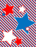 Vector Patriotic Star Background with Stripes. EPS8 Vector Red, White and blue patriotic star background with a striped background Stock Photography