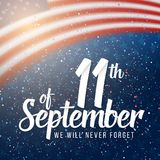 Vector Patriots Day Poster. September 11th 2001 Paper Lettering. Illustration of Vector Patriots Day Poster. September 11th 2001 Paper Lettering on Blurred USA Royalty Free Stock Image