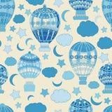 Vector patroon abstracte, Vlotte lijnen, velen, naadloos patroon, ballon, aerostaat royalty-vrije illustratie