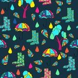 Vector patroon donkere achtergrond, velen, veelkleurige, Abstracte Achtergrond naadloos patroon, regen; paraplu; schoenen; stock illustratie