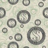 Vector patroon met symbolen van geld Stock Afbeelding