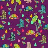 Vector patroon violette achtergrond, velen, veelkleurige, Abstracte Achtergrond naadloos patroon, regen; paraplu; schoenen; stock illustratie